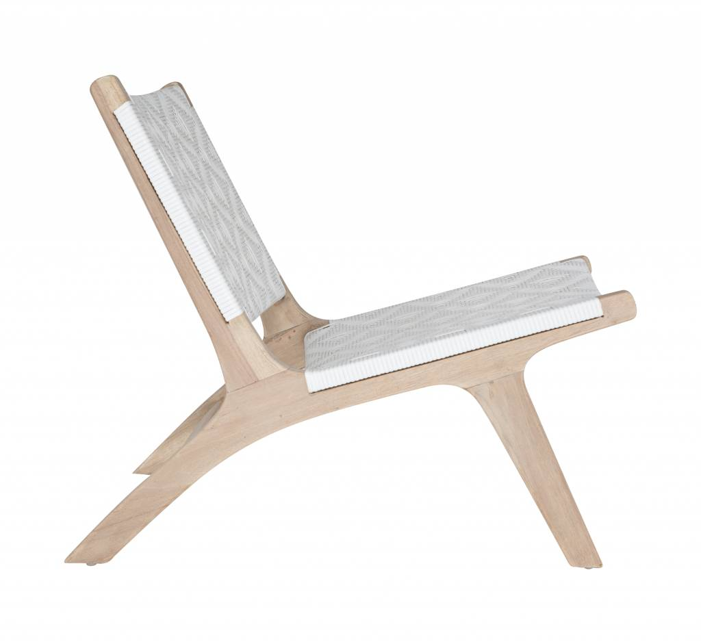 Uniqwa Furniture  Occasional Chair 'Cape Town' in Plantation teak and polyrattan - Natural / White - Uniqwa Furniture
