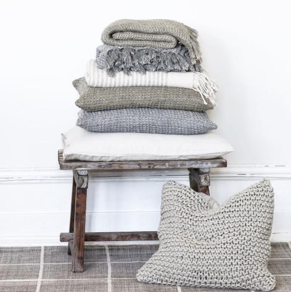 Tell me more Housse de coussin tricot coton - 50x50cm - gris clair - Tell Me More