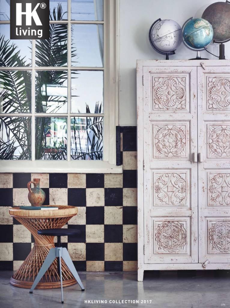 HK Living Armoire Cabinet Ethnique - bois marbre / blanc cassé - HK Living