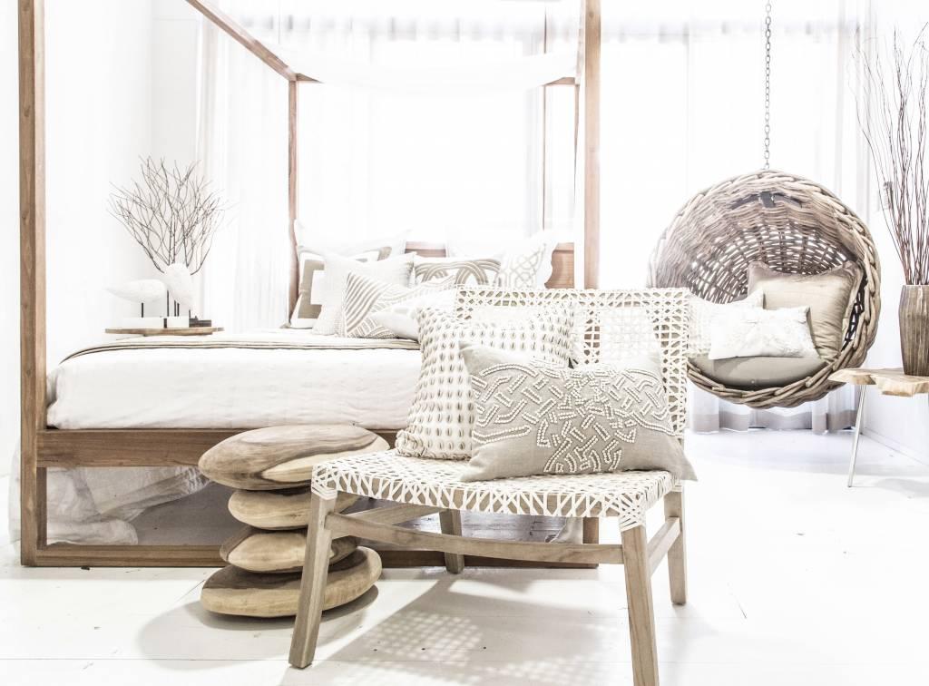 Uniqwa Furniture  Taburete 'Stacks' - Madera Munggur Cruda - 40h cm - Natural - Uniqwa Furniture