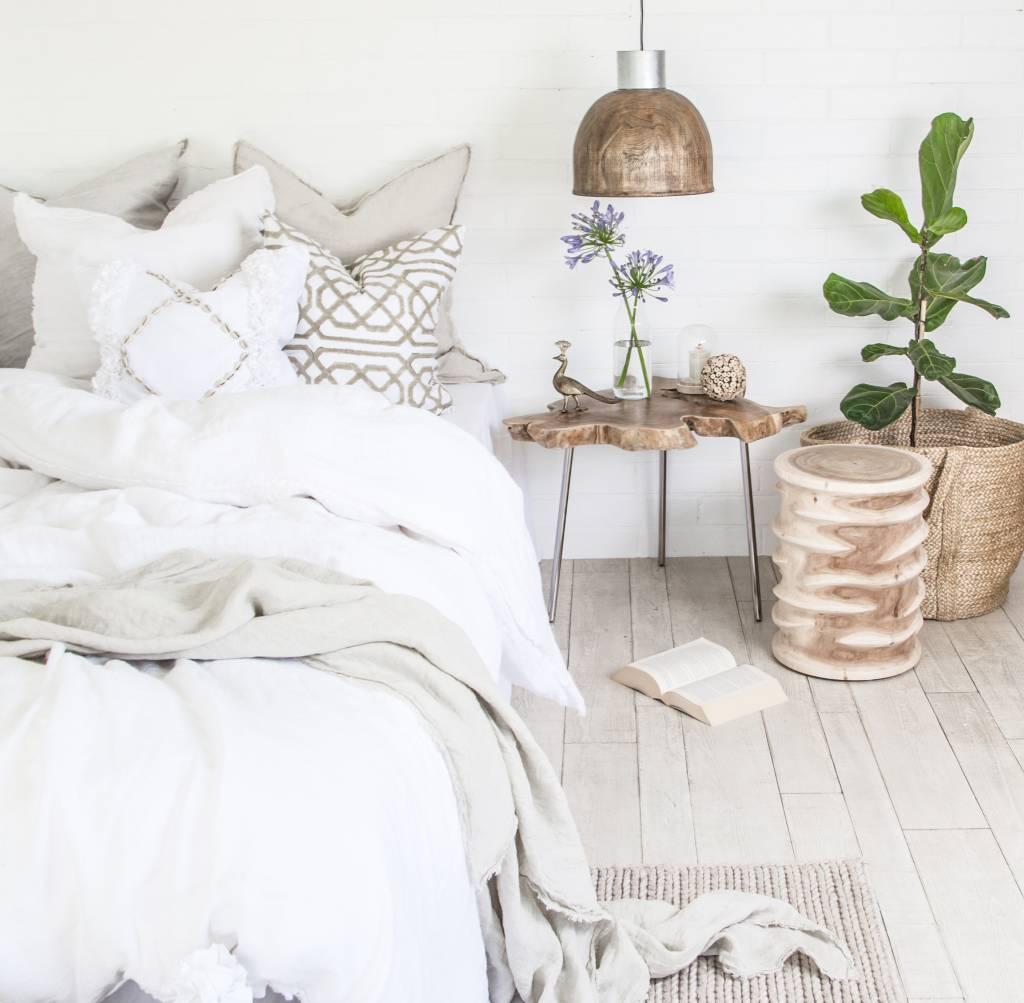 Uniqwa Furniture  Taburete 'Ripple' - madera de Munggur no tratada - Natural - Uniqwa Furniture