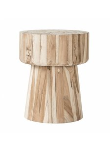 Uniqwa Furniture  Stool 'Klop' untreated teak - 40h cm - Natural - Uniqwa Furniture