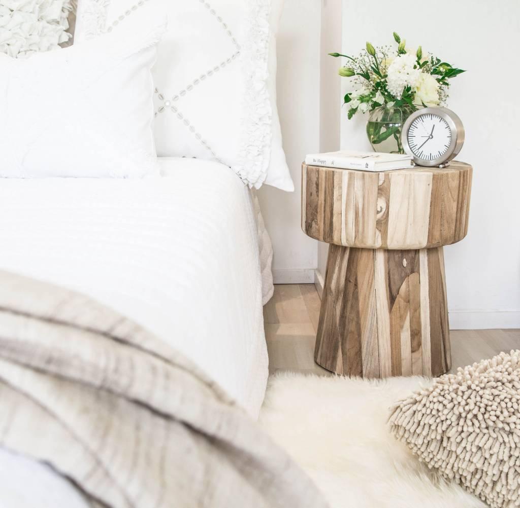 Uniqwa Furniture  Taburete 'Klop'  Madera de Teca cruda - 40h cm - Natural - Uniqwa Furniture