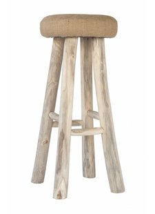 Uniqwa Furniture  Tabouret de bar en teck et jute - Uniqwa Furniture