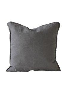Tell me more Housse de coussin 100% lin - gris foncé - 65x65cm - Tell Me More