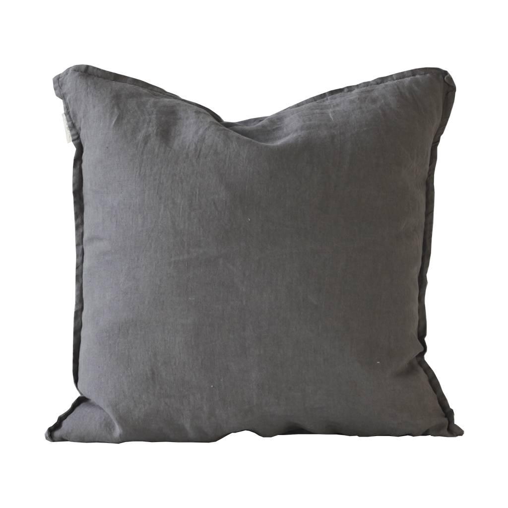Tell me more Housse de coussin 100% lin lavé - gris foncé - 65x65cm - Tell Me More