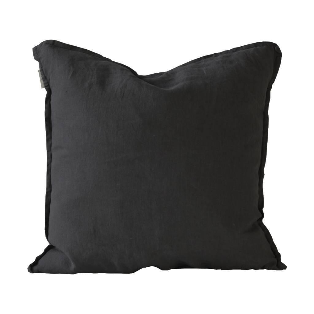 Tell me more Housse de coussin 100% lin lavé - noir - 50x50cm - Tell Me More
