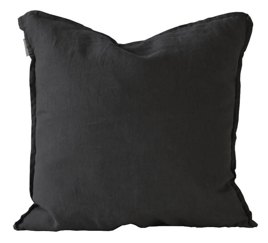 Tell me more Funda de Cojín - 100% Linon lavado - Negro - 65x65cm - Tell Me More