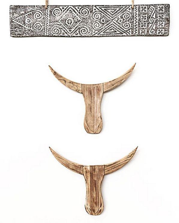 MaduMadu Colgadura de madera teca - Torro - 45x30x5cm - MaduMadu