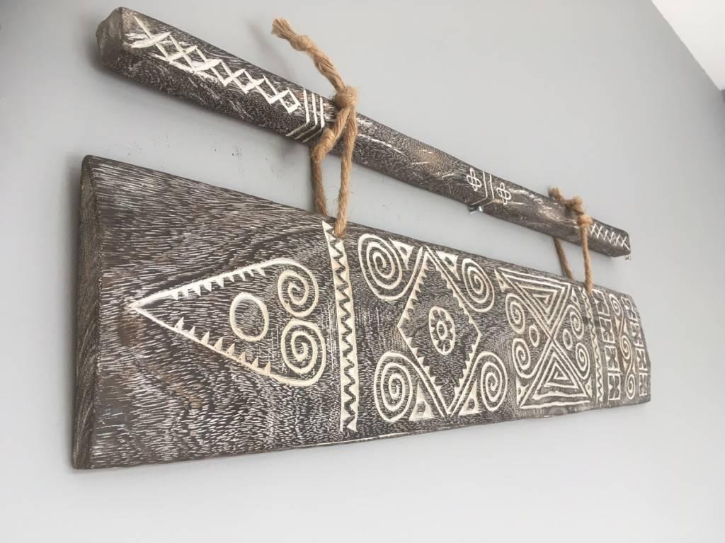 "Pendentif mural en bois ""Sumba art"" - 80xh16cm - MaduMadu"