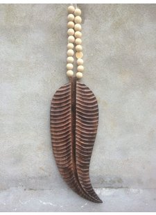 MaduMadu Colgadura de madera teca - Pluma - 56x21cm - MaduMadu