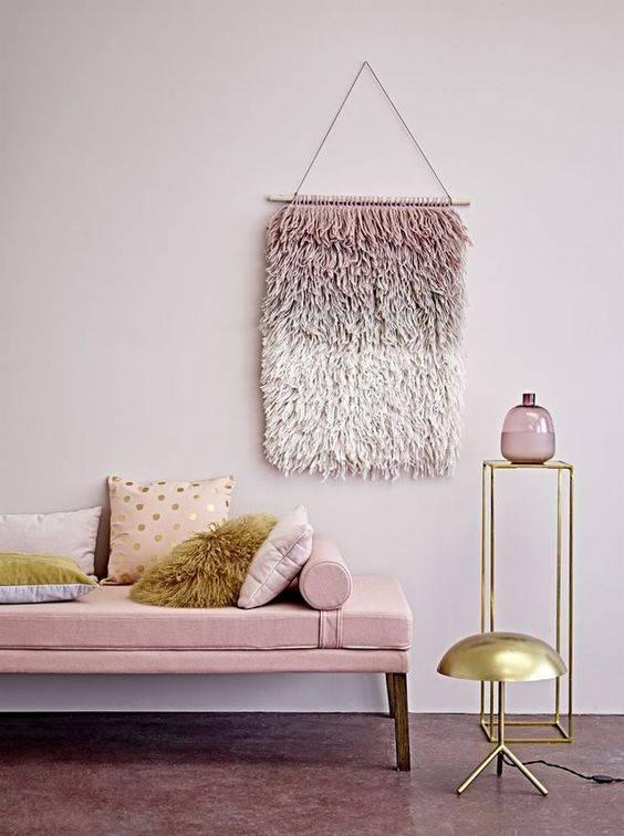 Bloomingville Wall Hanger in Pink wool - h90x60cm - Bloomingville