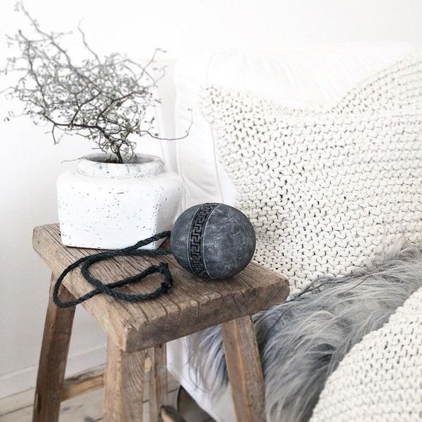 Tell me more Housse de coussin tricot 100% coton - 50x50cm - Blanc / Offwhite - Tell Me More