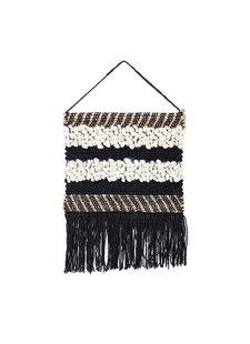 Bloomingville Wall Hanger in black wool and jute - h60x50cm - Bloomingville