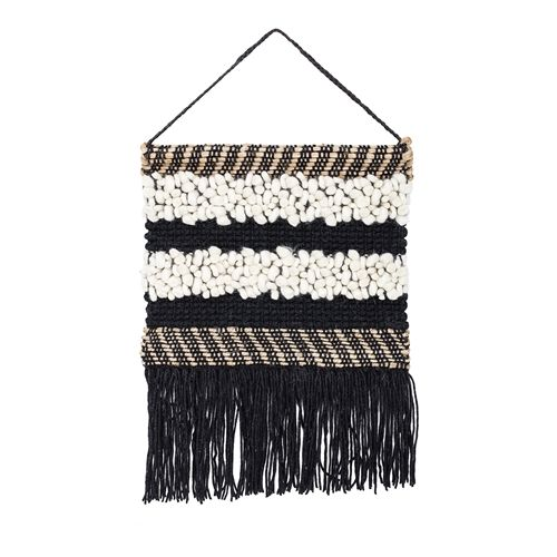 Bloomingville Wall Hanger in black wool and jute - h60x50cm - Bloomingville