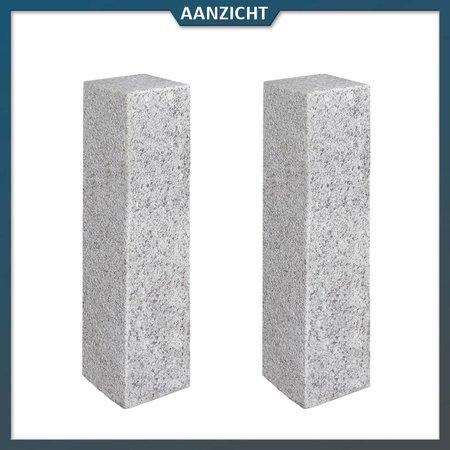 Natuursteenvoordelig Palissade Graniet Lichtgrijs Gebouchardeerd/gevlamd 12 x 12 centimeter