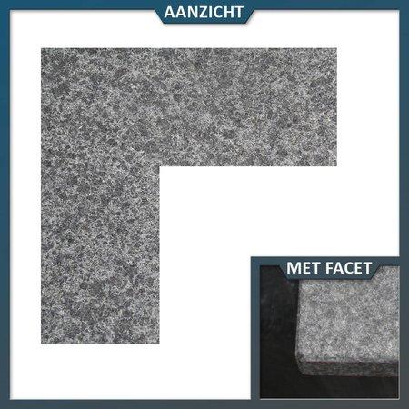 Natuursteenvoordelig Vijverrand Basalt G684 hoekstuk