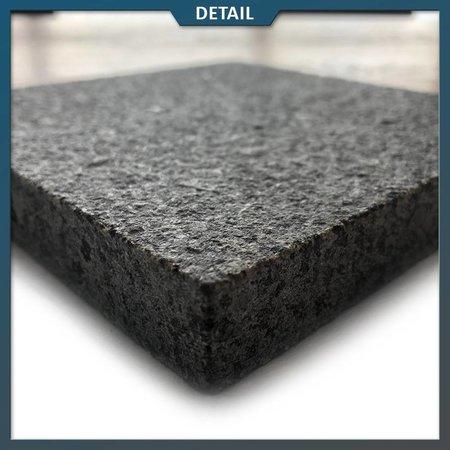 Natuursteenvoordelig Graniet tegel Impala gevlamd en geborsteld (Graniet zwart)