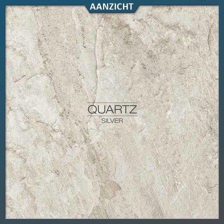 Castelvetro Keramische tuintegel Quartz Silver 60x60x2 cm