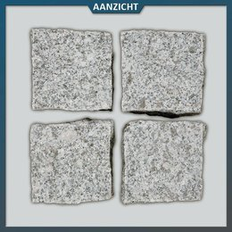 Natuursteenvoordelig Graniet Lichtgrijs Kinderkoppen Gevlamd/gebroken