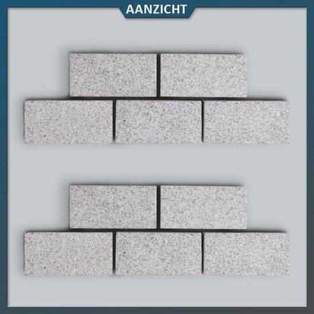 Natuursteenvoordelig Graniet Klinker Lichtgrijs Gevlamd 20 x 10 x 5 centimeter