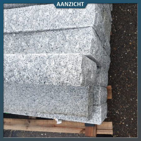 Natuursteenvoordelig Opsluitband Graniet grijs gebouchardeerd
