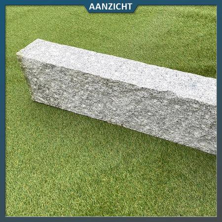 Natuursteenvoordelig Palissade graniet lichtgrijs ruw bekapt