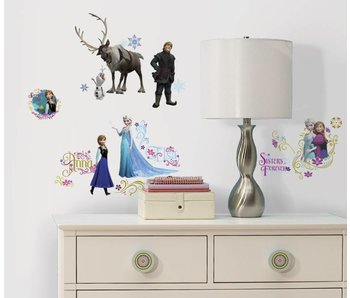 Frozen muursticker van Elsa, Anna, Olaf, Sven en Kristoff