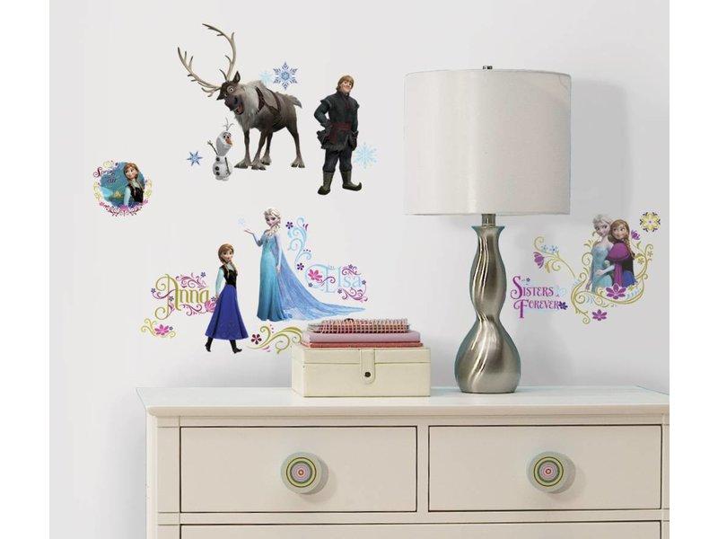Disney Frozen muursticker van Elsa, Anna, Olaf, Sven en Kristoff