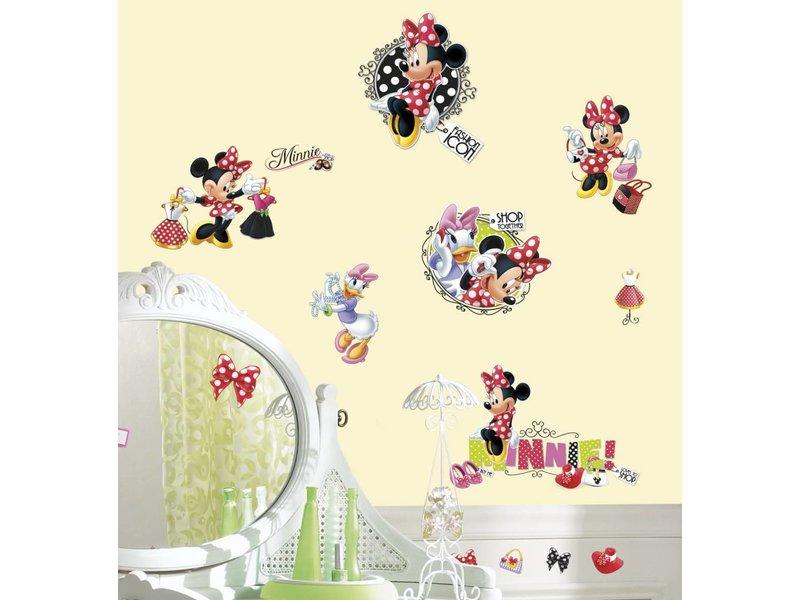 Disney Muursticker Minnie Mouse houdt van winkelen