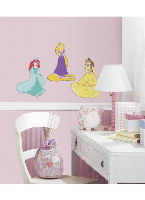 Muursticker Rapunzel, Belle en Ariël 3D schuim
