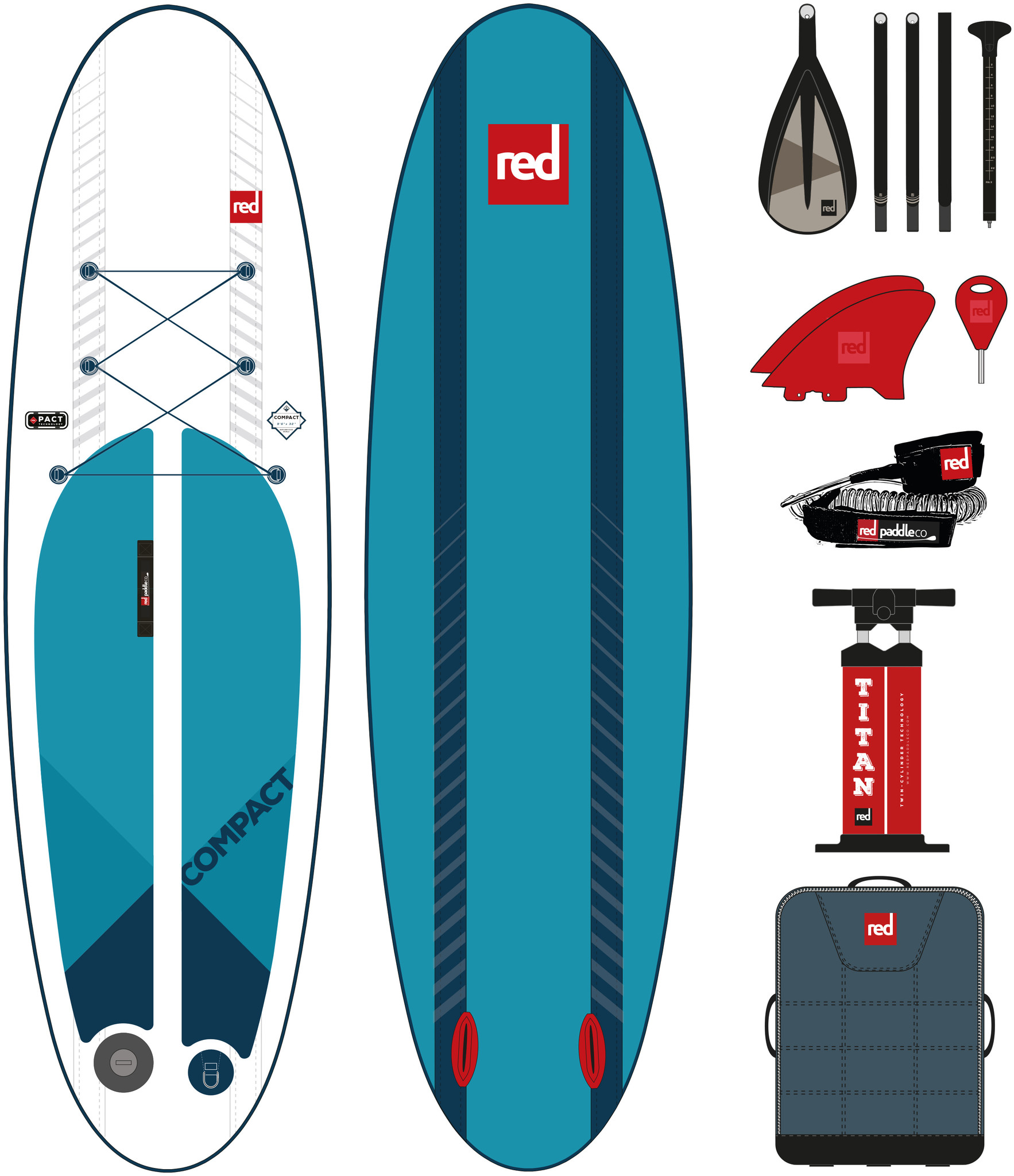 "Red Paddle Co Red Paddle 9'6"" x 32"" COMPACT complete"