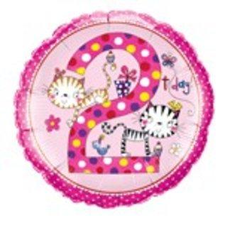 Ballon 'Happy Birthday' 2 jaar - meisje