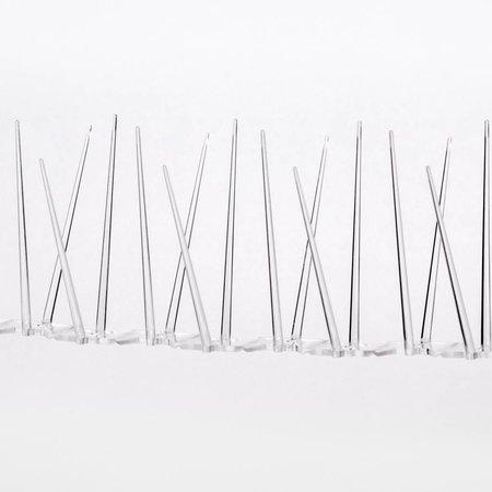 Kunststof duivenpinnen MIC230 op 0,5 mt Polycarbonaatstrip 50 cm met 30 POLY- pinnen