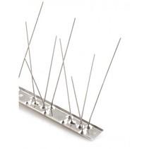 Duivenpinnen MIC780 op 1 mt RVS-strip, met 80 RVS pinnen 10 cm hoog - 1 mt/st