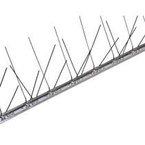Duivenpinnen MIC260 op niet flexibele RVS-strip 100 cm, 60 RVS pinnen - 1 mt/st