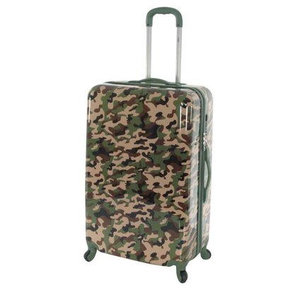 TRAVELZ  CAMOUFLAGE PRINT KOFFER GROOT