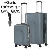 CarryOn Connect Kofferset Grijs Inhoud 90 en 28 Liter +Gratis Kofferweger