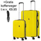 CarryOn Connect Kofferset Geel Inhoud 90 en 28 Liter +Gratis Kofferweger