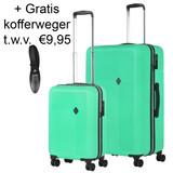 CarryOn Connect Kofferset Groen Inhoud 90 en 28 Liter +Gratis Kofferweger