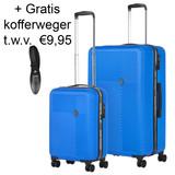 CarryOn Connect Kofferset Blauw Inhoud 90 en 28 Liter +Gratis Kofferweger