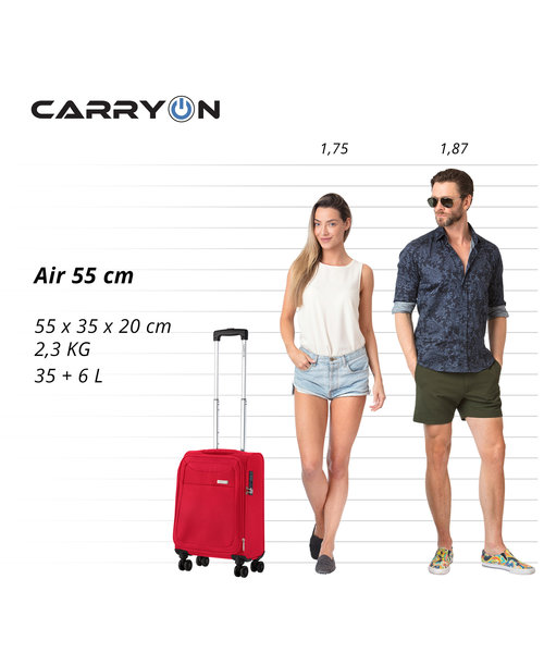 CarryOn Air Kofferset Cherry Rood Inhoud 100, 60 en 31 Liter met Okoban