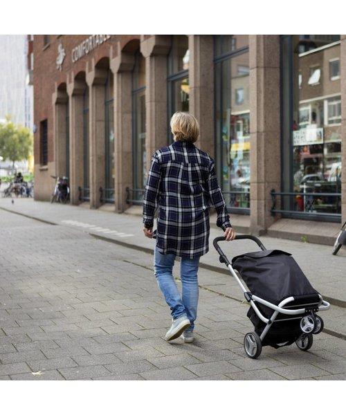 Shop Cruiser Luxe Boodschappen Trolley Met 3 Wielen en Koeltas Zwart