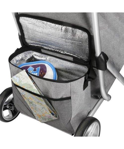 Shop Cruiser Luxe Boodschappen Trolley Met 3 Wielen en Koeltas Grijs
