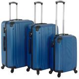 Kofferset Donker Blauw Set 3 Koffers Inhoud 90, 70, 36 Liter