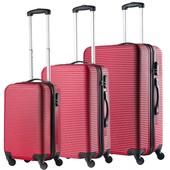 TravelZ Abs Reiskoffers Rood Set 3 Koffers Inhoud 90, 63, 35 Liter