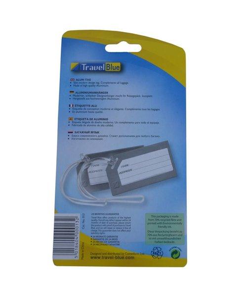Travelblue Aluminium adreslabel ( 1 +1 Gratis) Set 2 stuks