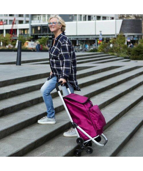 Shop Cruiser Stevige Boodschappen Trolley Met Traploop Functie Zwart