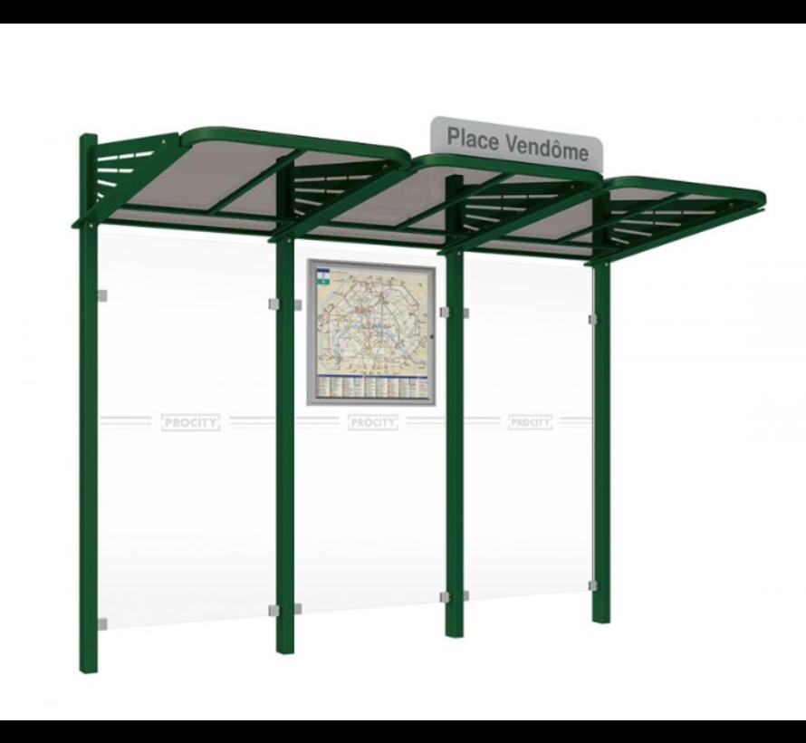 Abris bus sans vitrages latéraux