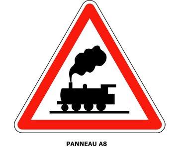 Panneau A8 Passage à niveau sans barrières ni demi-barrières